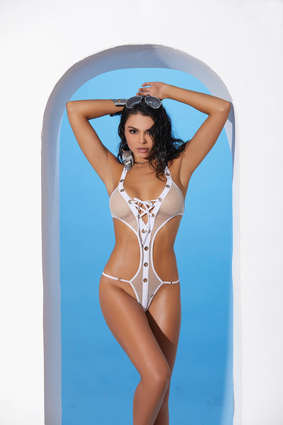 White Fishnet Lace Up Halter Neck Monokini