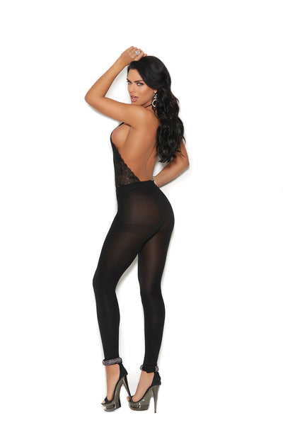 Black Lace and Opaque Footless Bodystocking