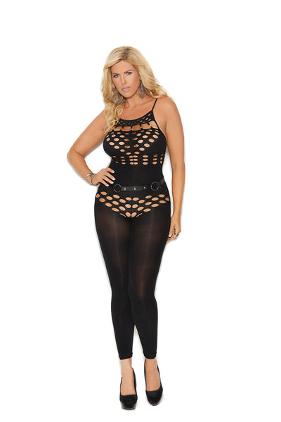 Black Opaque Footless Bodystocking With Cut Out Detailing