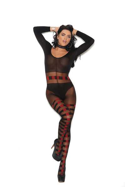 Sheer and Opaque Long Sleeve Checkered Bodystocking