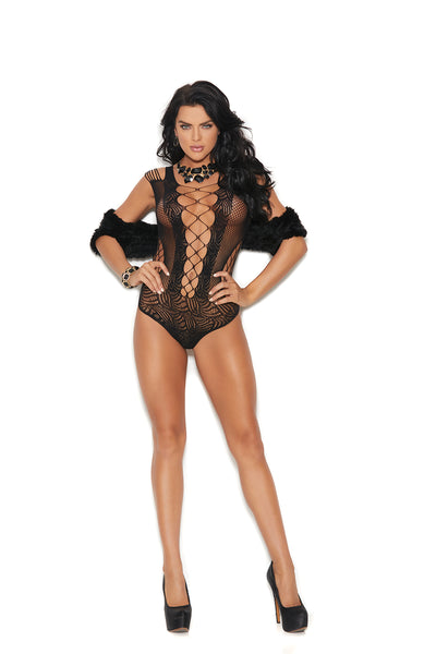 Black Crochet Lace up Teddy with A Thong Back