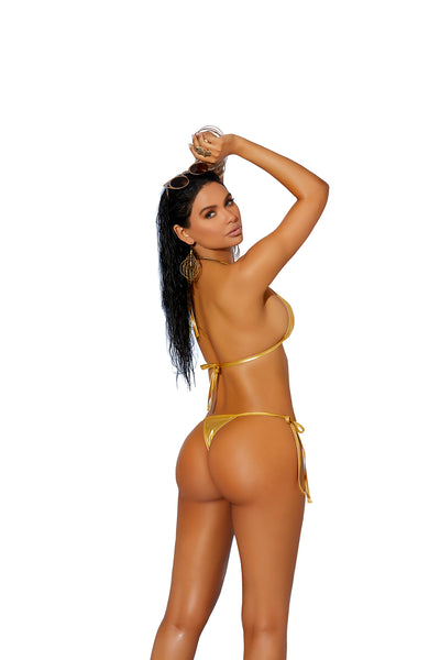 Gold Thong Back Wet Look Micro Bikini