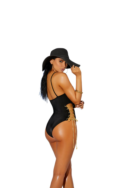 Black Lycra Lace Up Brazilian Cut One Piece Swimsuit