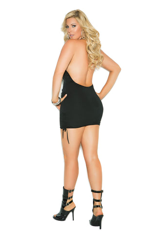 Plus Size Deep V Halter Neck Scrunch Side Mini Dress