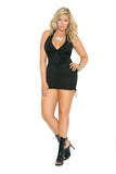 HotSpotLingerie.com Plus Size Deep V Halter Neck Scrunch Side Mini Dress