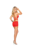 Plus Size Deep V Lycra And Net Halter Neck Mini Dress