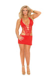 HotSpotLingerie.com Plus Size Deep V Lycra And Net Halter Neck Mini Dress
