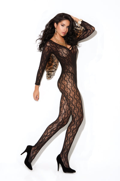 Long Sleeve Black Lace Bodystocking