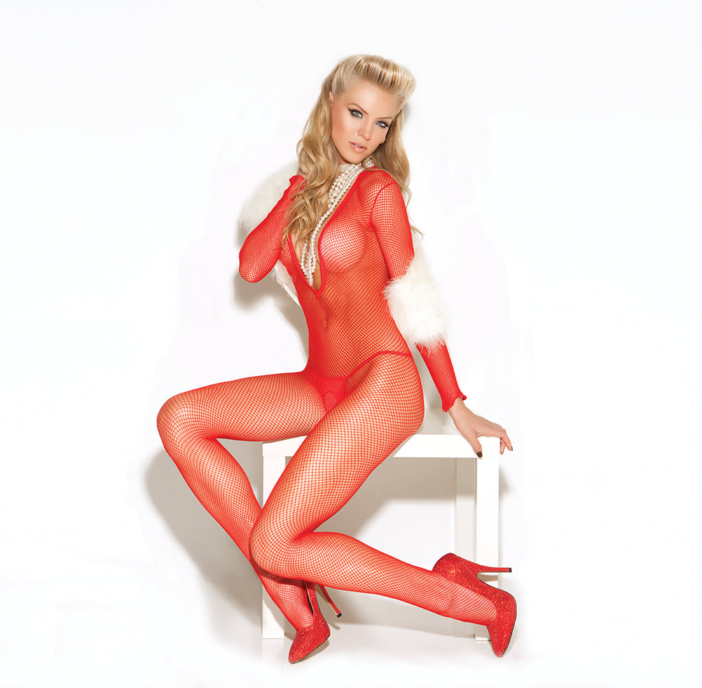 Red Long Sleeve Deep V Fishnet Open Crotch Bodystocking
