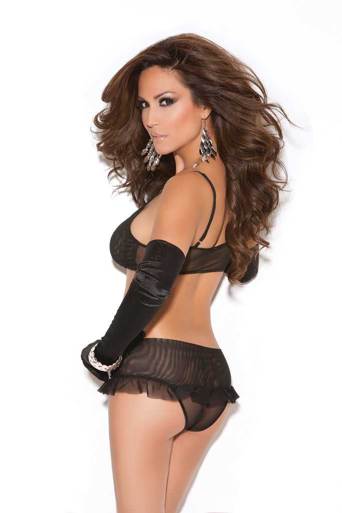 Mesh Top Set With Skirted Panty