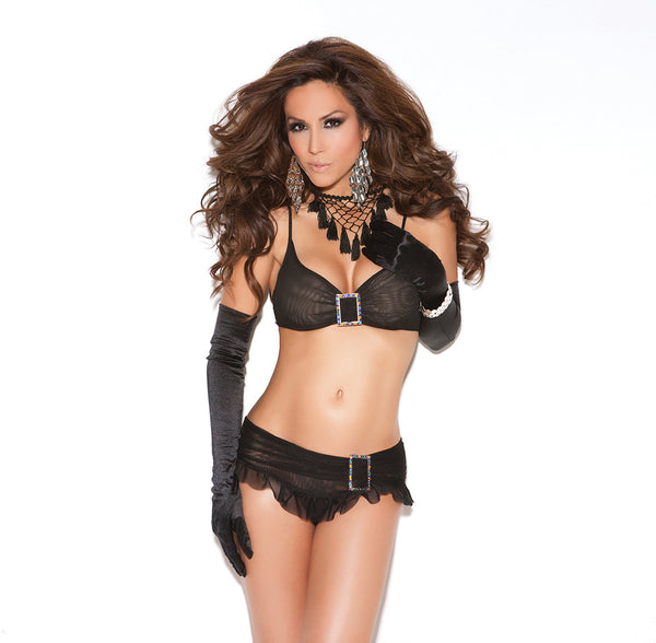 HotSpotLingerie.com Mesh top and skirted panty with rhinestone buckle.