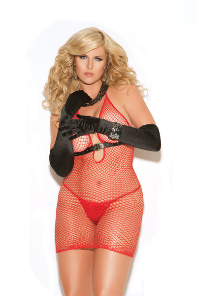 HotSpotLingerie.com Plus size diamond net dress.