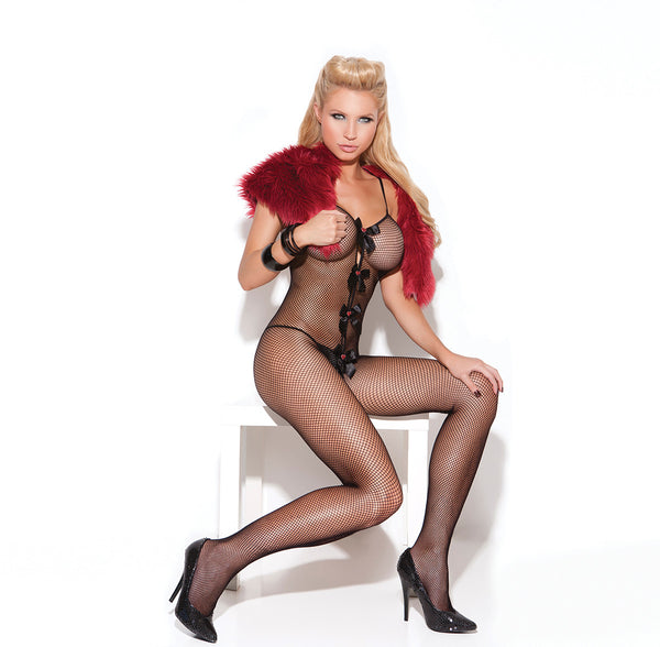 HotSpotLingerie.com Fishnet bodystocking with open crotch, satin bows and hearts applique.