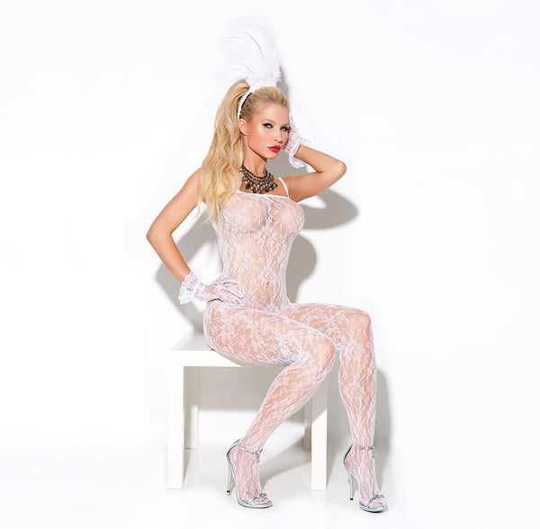 Sexy White Lace Open Crotch Bodystocking