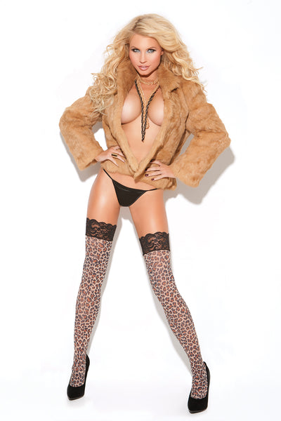 Animal Print Lace Top Thigh High's