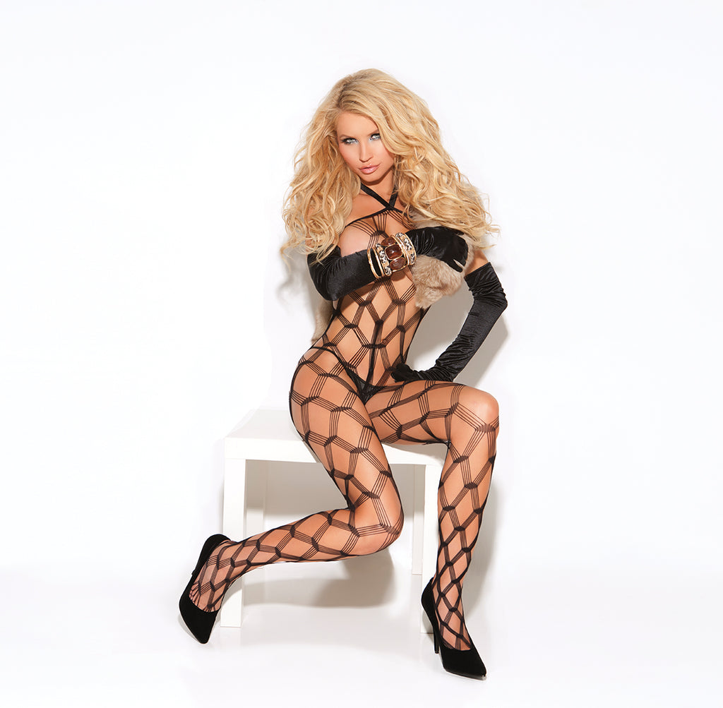 Sexy Black Diamond Net Bodystocking