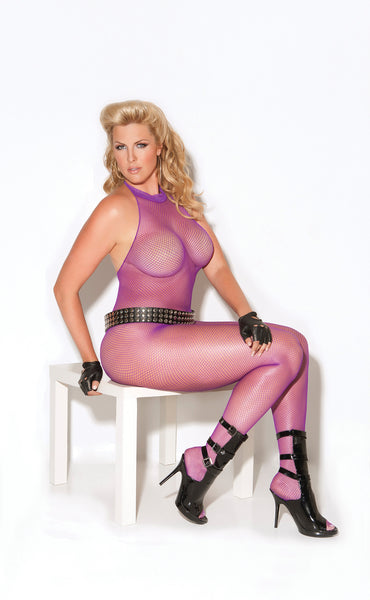 HotSpotLingerie.com Plus size fishnet bodystocking with open crotch.