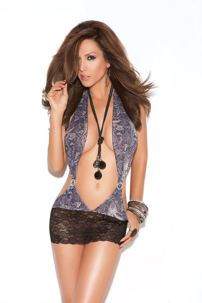 Deep V Snakeskin Mini Dress With A Lace Skirt