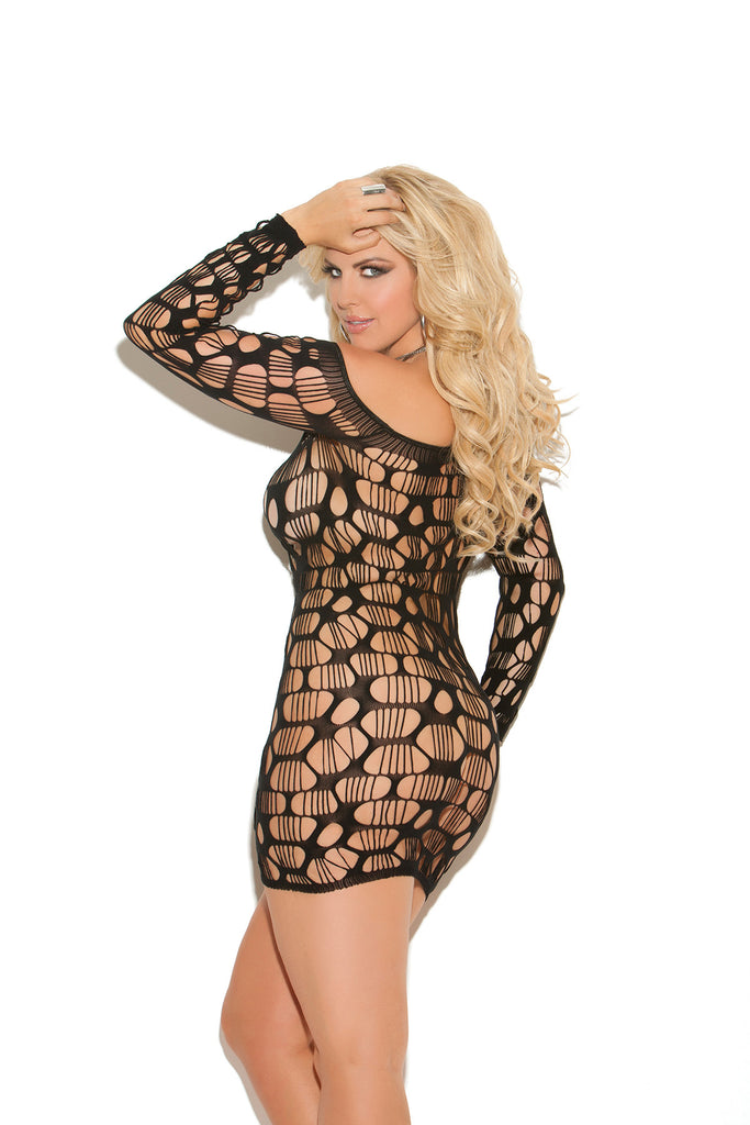 Plus Size Off The Shoulder Ripped Net Mini Dress