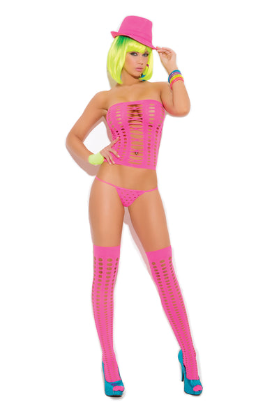 Neon Pink Bandeau Top, G-String and Matching Stockings Set