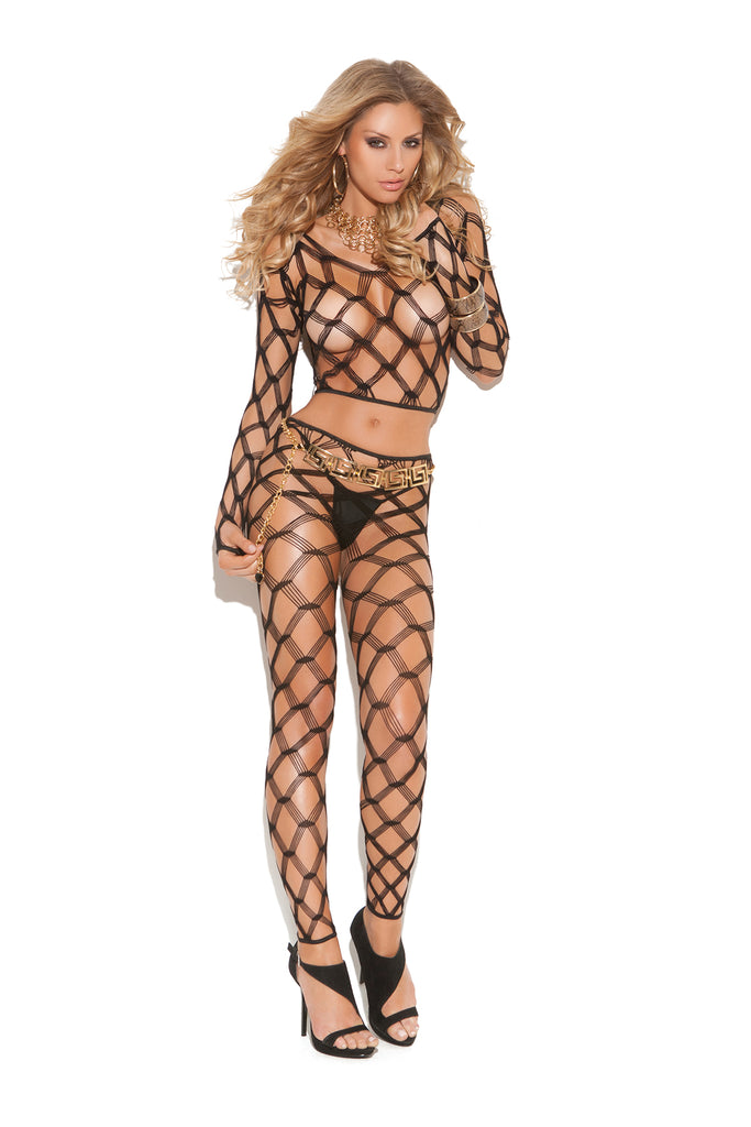 Black Diamond Net Long Sleeve Cami Top and Leggings 2 Piece Set