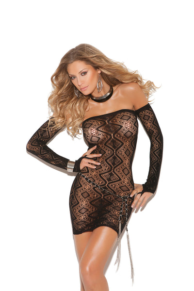 HotSpotLingerie.com Diamond pattern bandeau dress with open back and matching gloves.