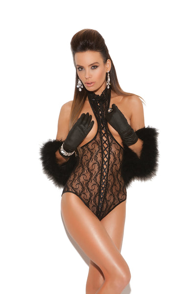 Black Lace Teddy With Open Cups and Back
