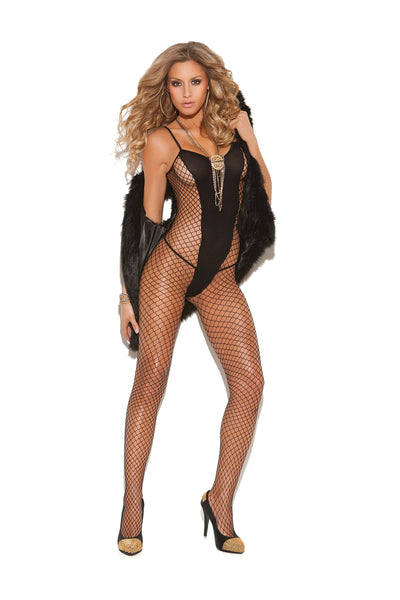 HotSpotLingerie.com Diamond net and opaque bodystocking with open crotch.