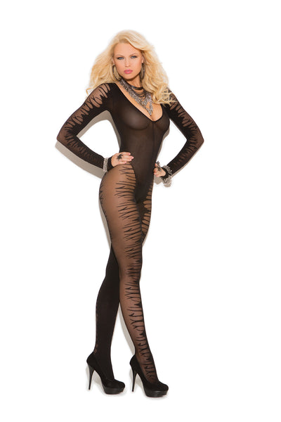 HotSpotLingerie.com Long sleeve sheer jacquard bodystocking with open crotch.