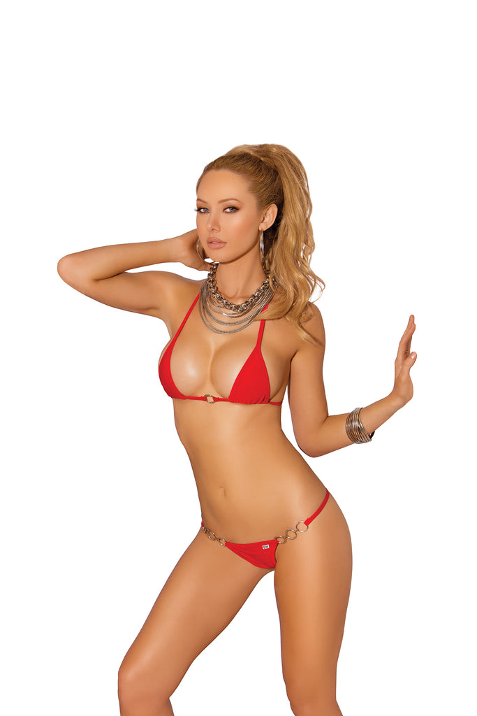 Red Lycra Bikini With O Ring Accents