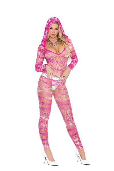 HotSpotLingerie.com Hooded deep V bodystocking in tie dye print with open crotch.