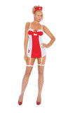 HotSpotLingerie.com 2 pc. Hot nurse costume includes mini dress with  underwire cups, adjustable straps, detachable garters and head piece.