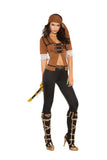 HotSpotLingerie.com 4 pc. Naughty pirate costume includes short sleeve top with lace trim, pants, belt and head scarf.
