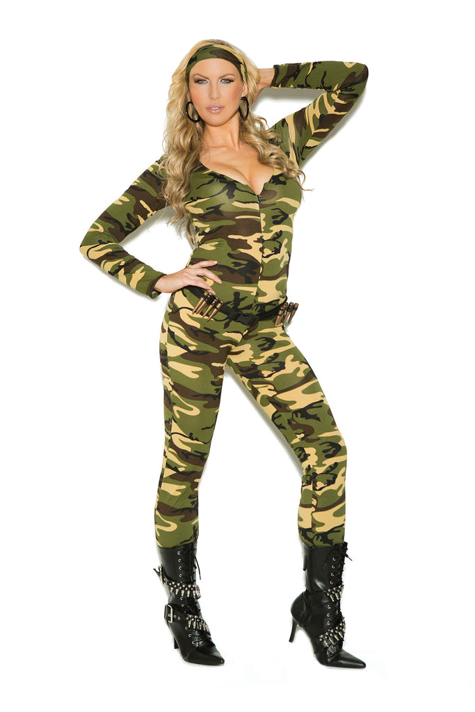 HotSpotLingerie.com 3 pc. Plus size sexy soldier costume includes long sleeve zip front jumpsuit, belt with bullets and head scarf.