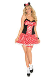 HotSpotLingerie.com 3 pc. Plus size sexy mouse costume includes mini dress, head piece and leg garter.
