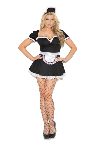 HotSpotLingerie.com 3 pc. Plus size sexy french maid costume includes mini dress, apron and head piece.