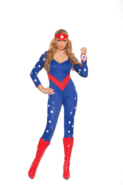 HotSpotLingerie.com 3 pc. Sexy American superhero costume includes long sleeve jumpsuit, wrist band and head piece.