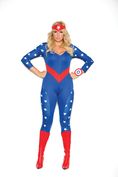 HotSpotLingerie.com 3 pc. Plus size sexy American superhero costume includes long sleeve jumpsuit, wrist band and head piece.