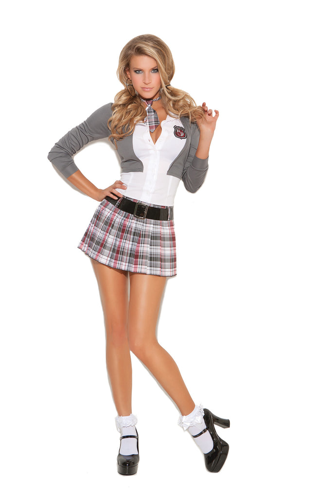 HotSpotLingerie.com 3 pc. Naughty school girl fantasy costume includes dress with attached jacket, belt and neck tie.