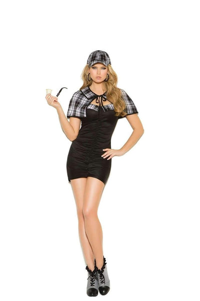 Sassy Detective Costume Includes Bandeau Dress, Cape and Hat