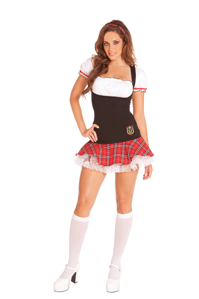 HotSpotLingerie.com 2 pc. Flirty school girl costume includes dress and head band.