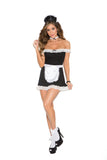 HotSpotLingerie.com 4 pc. Sexy maid costume includes off the shoulder dress, apron, neck piece and head piece.