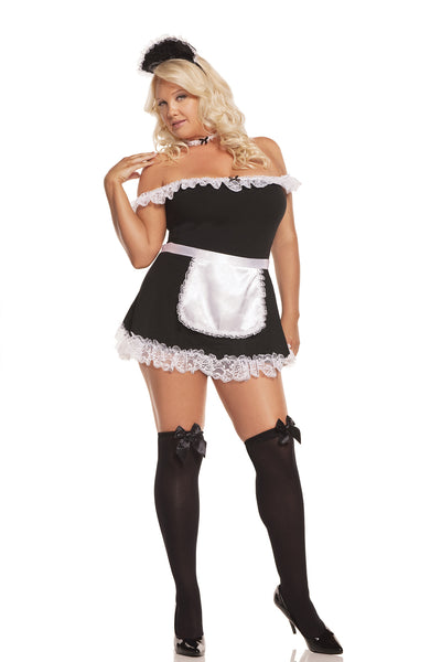 HotSpotLingerie.com 4 pc. Plus size sexy maid costume includes off the shoulder dress, apron, neck piece and head piece.