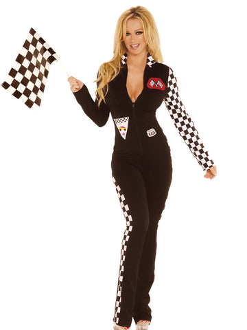 HotSpotLingerie.com 2 pc. Sexy race car driver fantasy costume includes jumpsuit with checkered sleeve and sides and racing flag.