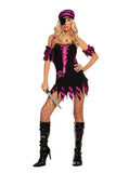 HotSpotLingerie.com Black Light Receptive. 4 pc. Sexy pirate costume includes dress, arm bands, head scarf and eye patch.