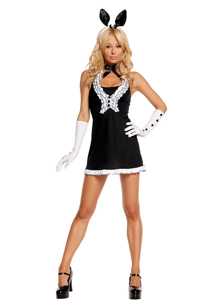 HotSpotLingerie.com 5 pc. Sexy pin-up bunny costume includes dress, vest, gloves, neck piece and bunny ears head band.