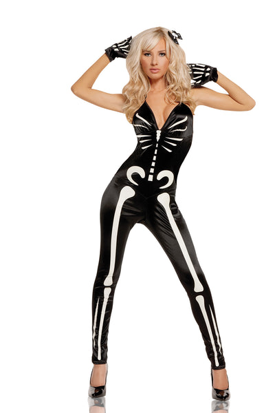 HotSpotLingerie.com Glow in the dark. 3 pc. Sexy skeleton costume includes jumpsuit, gloves and hair pin.