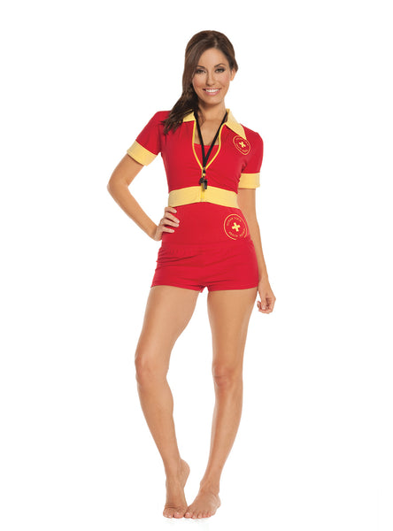 HotSpotLingerie.com 4 pc. Sexy lifeguard costume includes one piece swimsuit, booty shorts, zip front short sleeve jacket and whistle.
