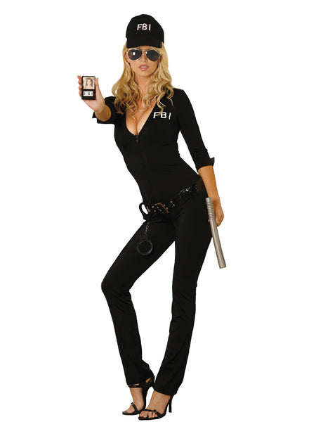 HotSpotLingerie.com 7 pc. Sexy FBI agent costume includes zip front jumpsuit, vinyl belt, handcuffs, hat, sunglasses, badge and baton.