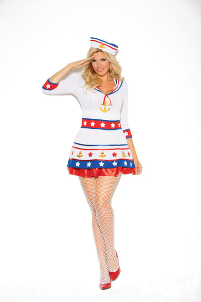 HotSpotLingerie.com 2 pc. Plus size sexy sailor costume includes dress and hat.